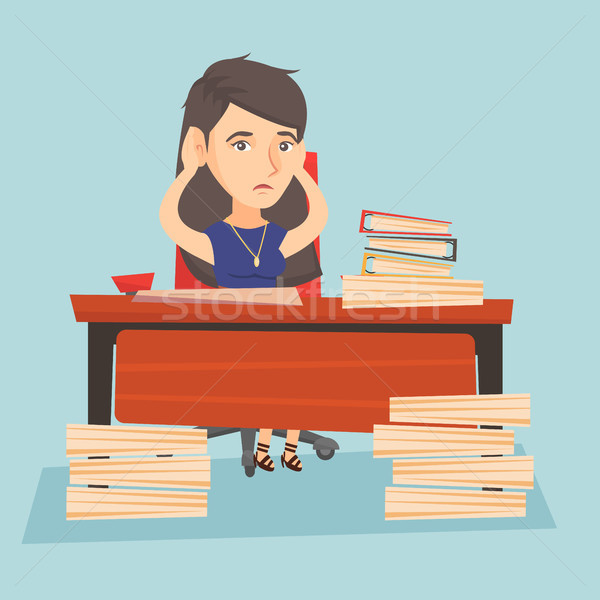 Despair office worker sitting at workplace. Stock photo © RAStudio