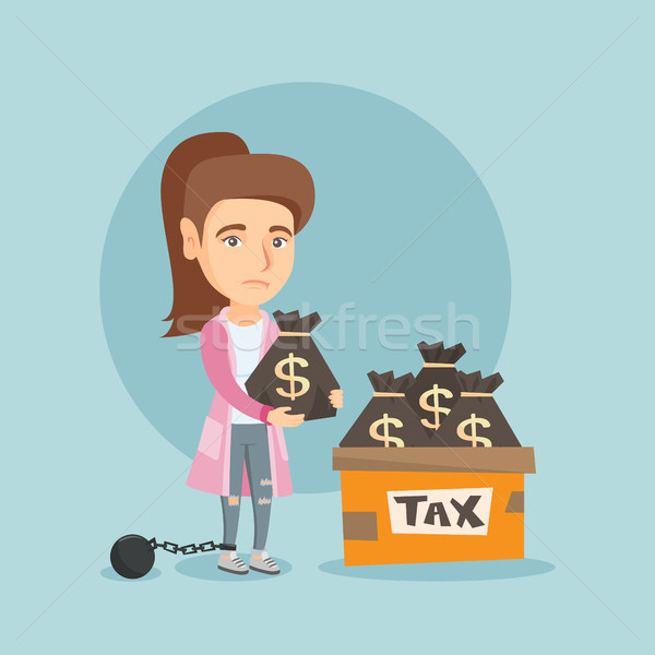 Chained business woman with bags full of taxes. Stock photo © RAStudio