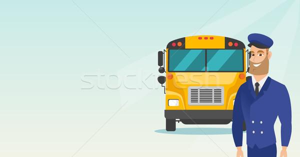 小さな 白人 スクールバス ドライバ 立って ストックフォト © RAStudio