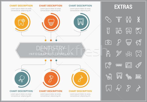 Stomatologia szablon elementy ikona konfigurowalny Zdjęcia stock © RAStudio