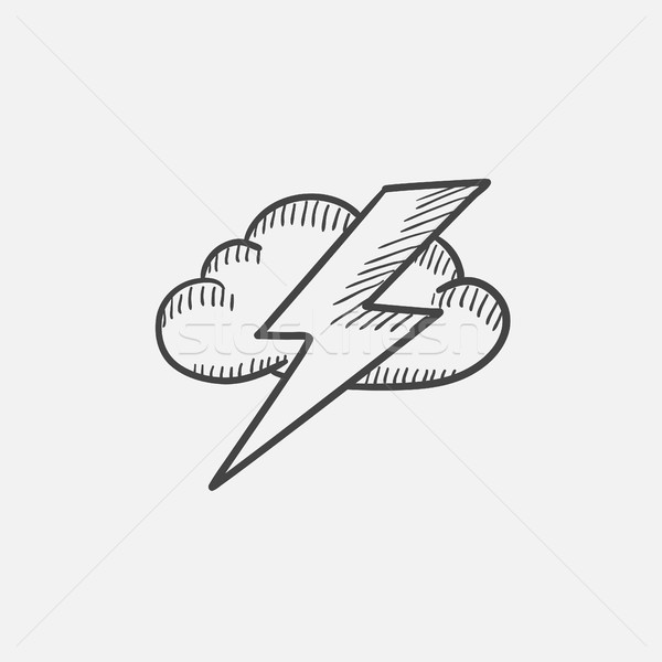 Cloud and lightning bolt sketch icon. Stock photo © RAStudio