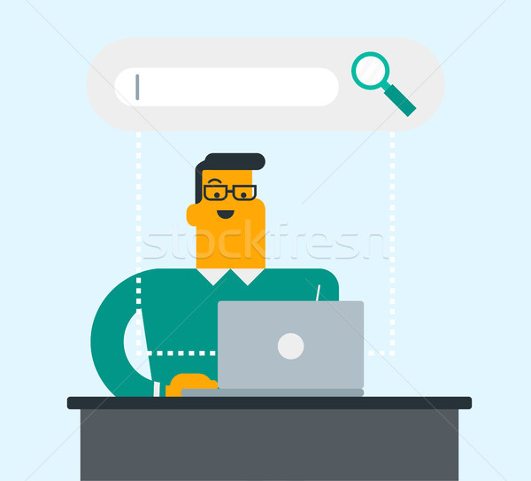 Kaukasisch man zoeken informatie laptop jonge Stockfoto © RAStudio
