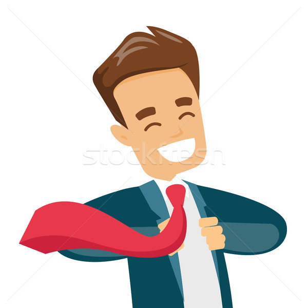 Businessman opening his jacket like superhero. Stock photo © RAStudio
