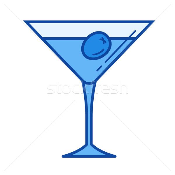 Vaso de martini línea icono vector aislado blanco Foto stock © RAStudio