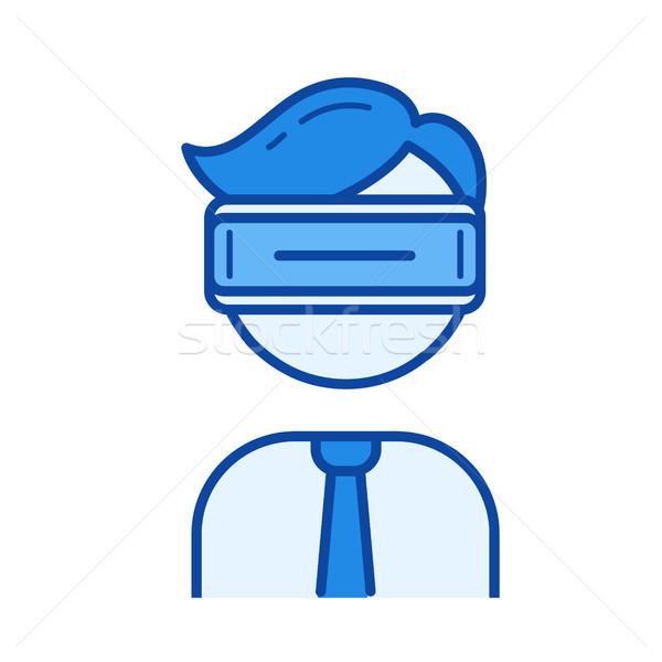 Virtueel realiteit hoofdtelefoon lijn icon vector Stockfoto © RAStudio