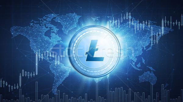 Litecoin coin on hud background with bull stock chart. Stock photo © RAStudio