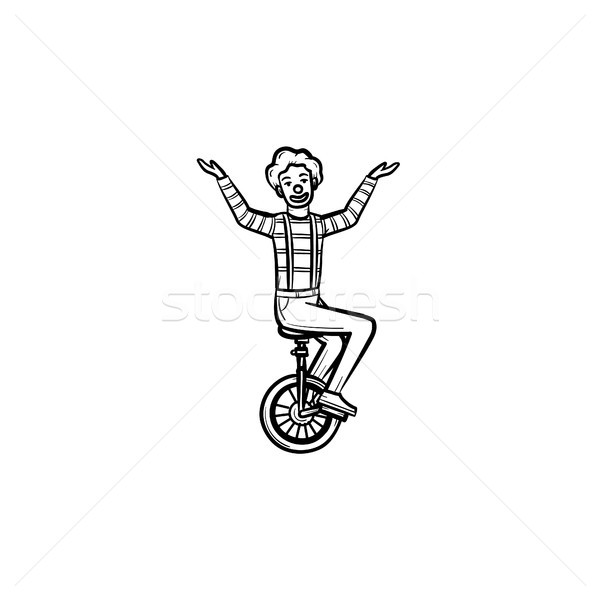 Clown on one wheel bicycle hand drawn sketch icon. Stock photo © RAStudio