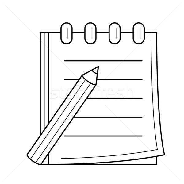 Pencil and notepad with binders vector line icon. Stock photo © RAStudio