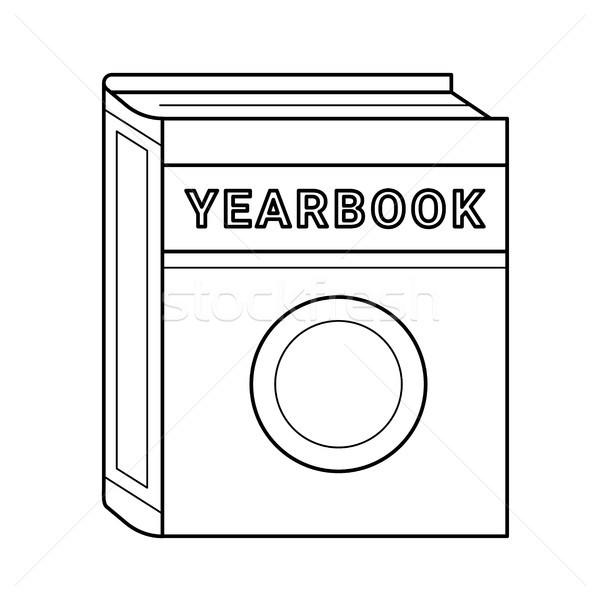 évkönyv vektor vonal ikon izolált fehér Stock fotó © RAStudio