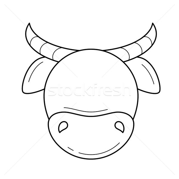 Cow head vector line icon. Stock photo © RAStudio