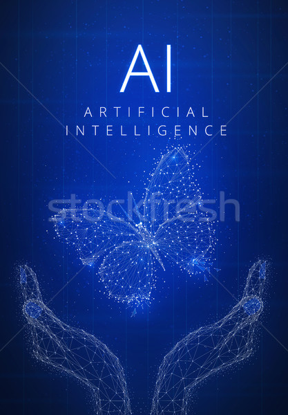 Blockchain technology artificial intelligence and cyber space co Stock photo © RAStudio
