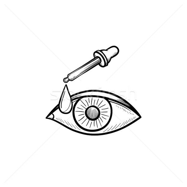 A pipette and eye hand drawn outline doodle icon. Stock photo © RAStudio