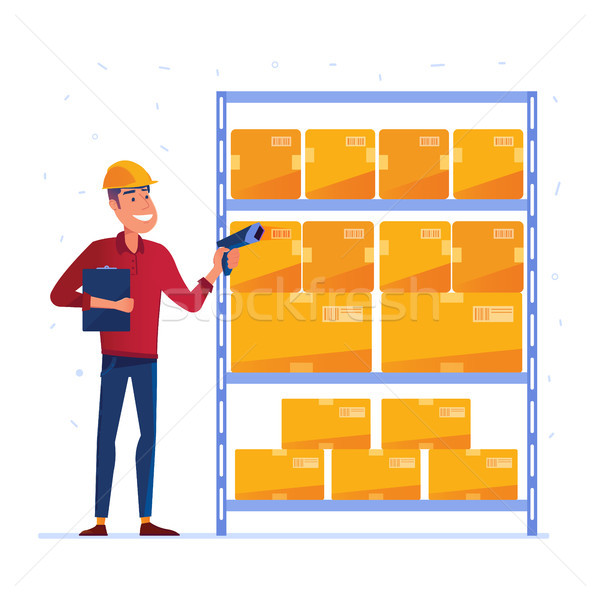 Warehouse worker is checking the boxes with QR code scanner Stock photo © RAStudio