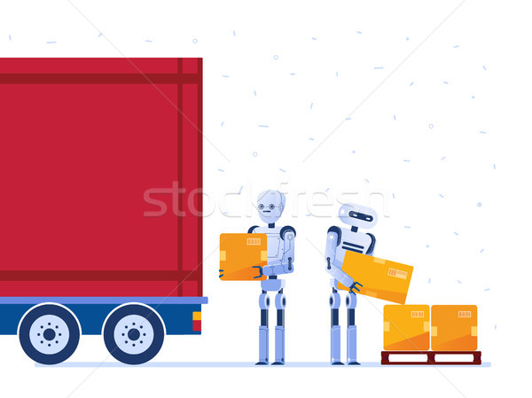 Warehouse robot workers loading truck with boxes. Stock photo © RAStudio