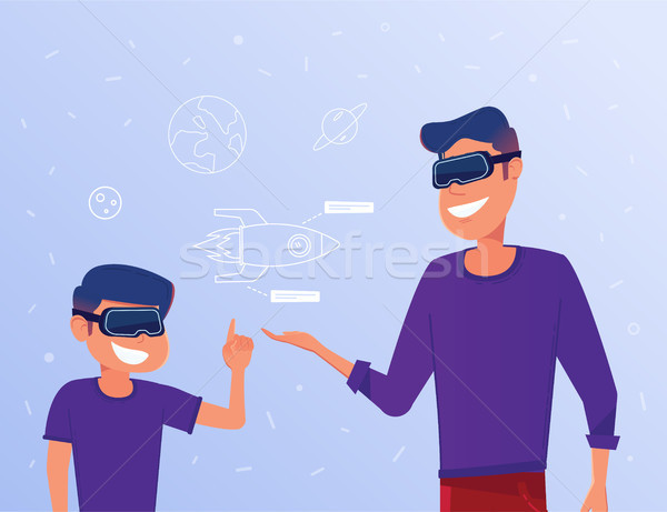 Caucasian man and kid in VR headsets studying a virtual rocket. Stock photo © RAStudio