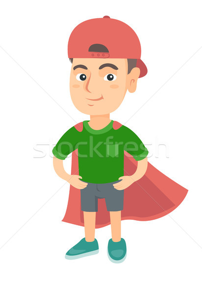 Caucasian brave boy wearing superhero costume. Stock photo © RAStudio