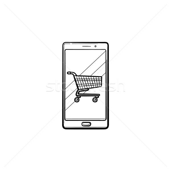 Mobile shopping hand drawn outline doodle icon. Stock photo © RAStudio