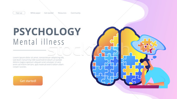 Psychology and mental illness landing page. Stock photo © RAStudio