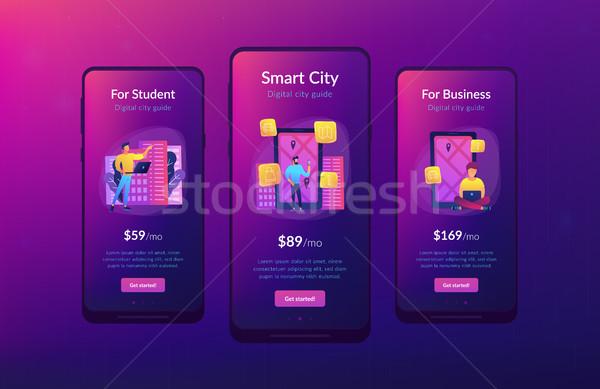 Stock photo: Digital city guide and smart city concept app ui design.