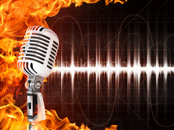 Microphone on Fire Background Stock photo © RAStudio
