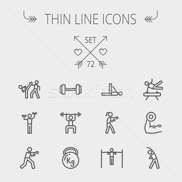 Stock photo: Sports thin line icon set
