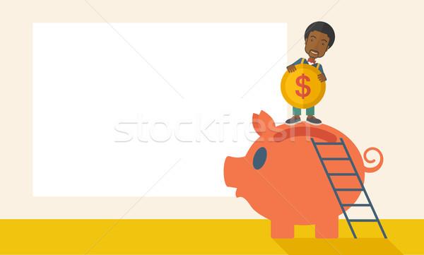 большой Piggy Bank лестнице молодые черный парень Сток-фото © RAStudio