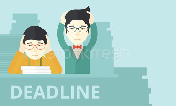 Kettő hangsúlyos ázsiai alkalmazottak kiégés probléma Stock fotó © RAStudio