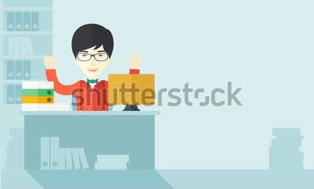 счастливым китайский бизнесмен оба рук сидят Сток-фото © RAStudio