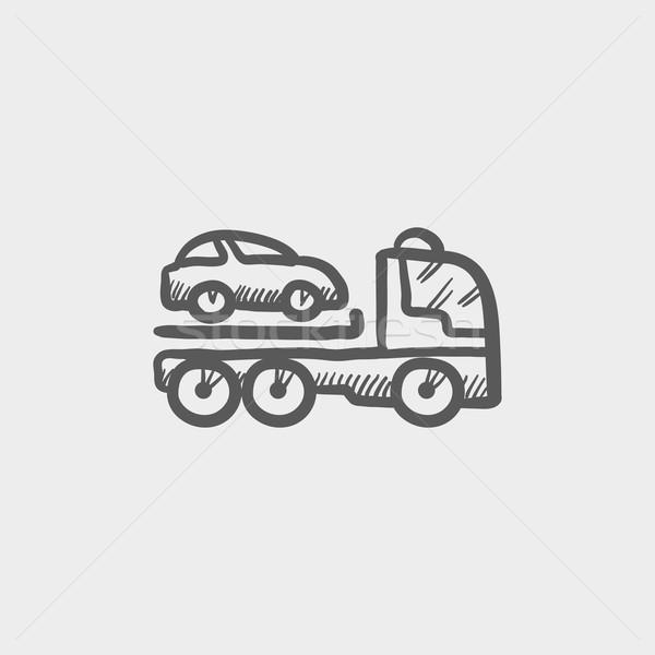 Car towing truck sketch icon Stock photo © RAStudio