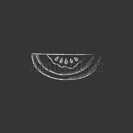 Kavun ikon tebeşir tahta Stok fotoğraf © RAStudio