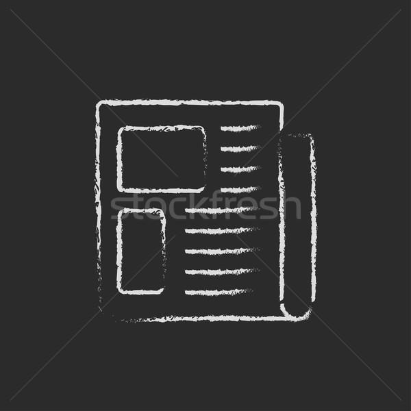 Periódico icono tiza dibujado a mano pizarra Foto stock © RAStudio