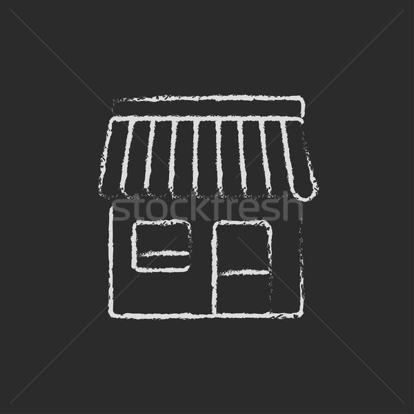 Stok fotoğraf: Alışveriş · ikon · tebeşir · tahta