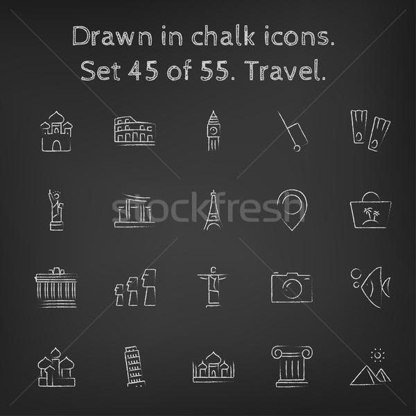Stock photo: Travel icon set drawn in chalk.