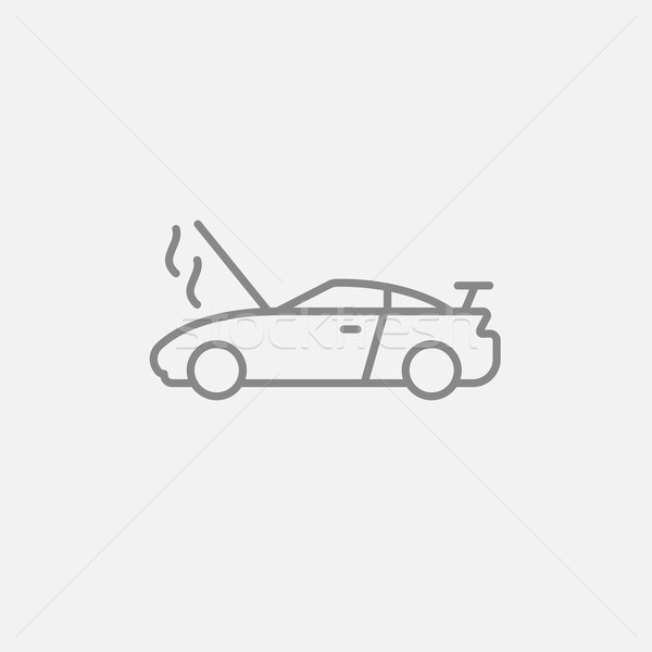 Broken car with open hood line icon. Stock photo © RAStudio