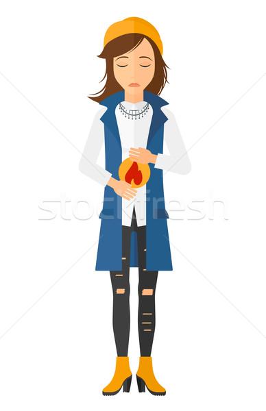 Donna sofferenza bruciore di stomaco vettore design illustrazione Foto d'archivio © RAStudio
