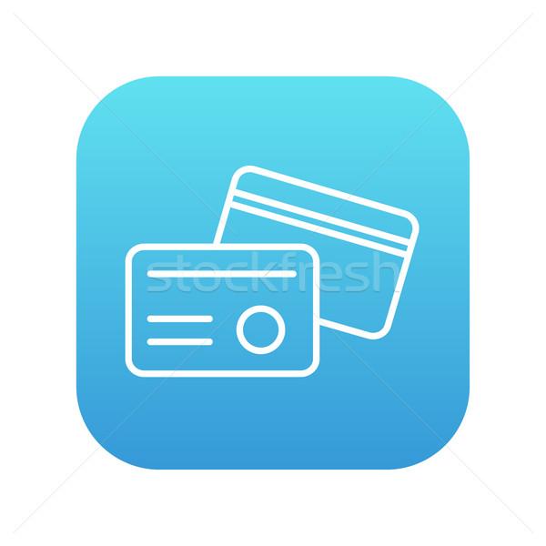 Identification carte ligne icône web mobiles Photo stock © RAStudio