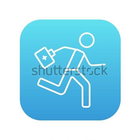 Paramédico ejecutando primeros auxilios línea icono Foto stock © RAStudio