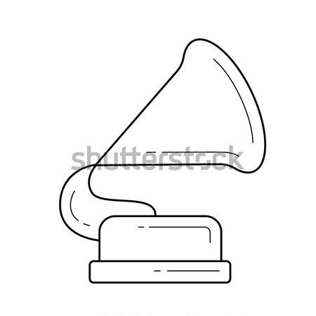 Stock fotó: Gramofon · vonal · ikon · háló · mobil · infografika