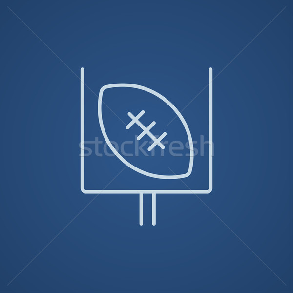 Gate and ball for rugby line icon. Stock photo © RAStudio