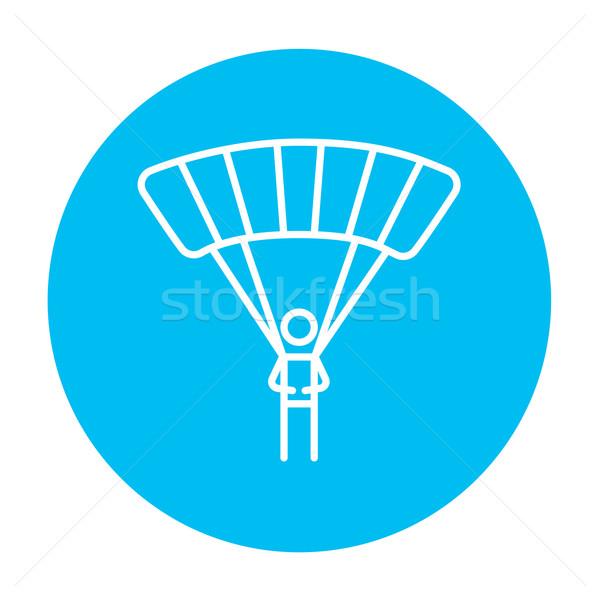 Skydiving lijn icon web mobiele infographics Stockfoto © RAStudio