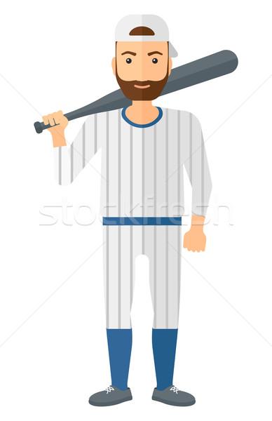 Jogador de beisebol em pé bat vetor projeto ilustração Foto stock © RAStudio