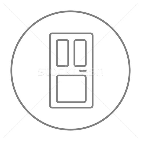 парадная дверь линия икона веб мобильных Инфографика Сток-фото © RAStudio
