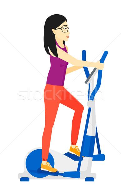 Kadın Asya egzersiz makine vektör Stok fotoğraf © RAStudio