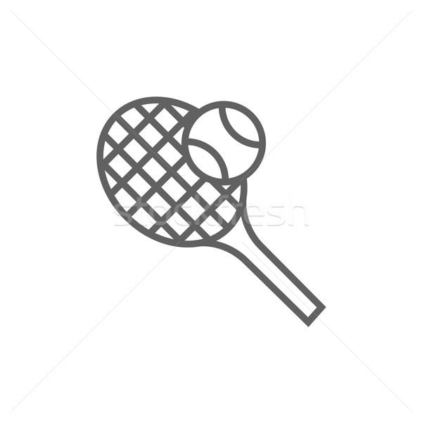 Tennisracket bal lijn icon web mobiele Stockfoto © RAStudio