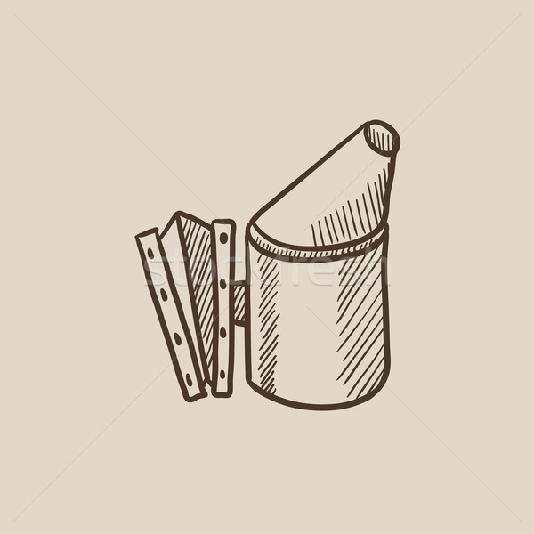 Bee hive smoker sketch icon. Stock photo © RAStudio