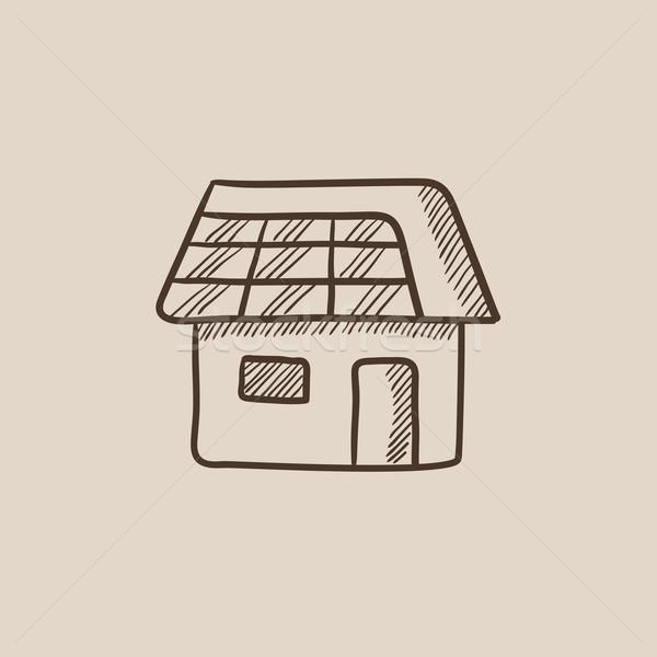 Huis zonnepaneel schets icon web mobiele Stockfoto © RAStudio