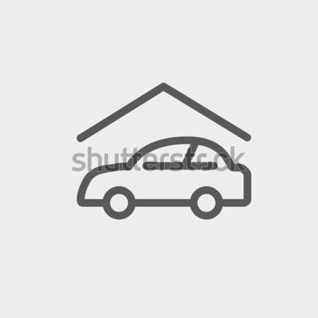 автомобилей гаража линия икона уголки веб Сток-фото © RAStudio