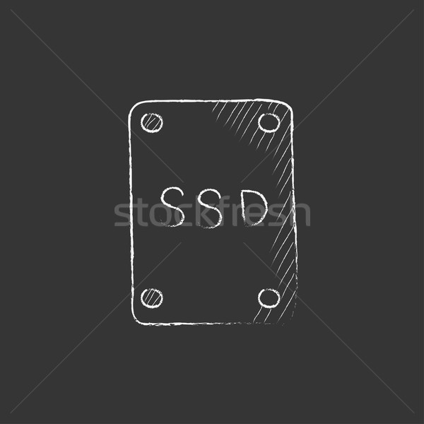 Solid state drive. Drawn in chalk icon. Stock photo © RAStudio