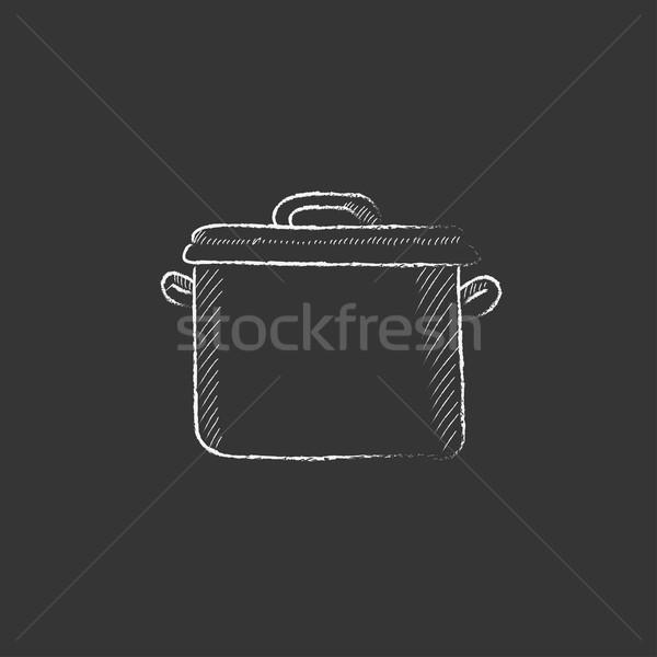 кастрюля мелом икона рисованной вектора Сток-фото © RAStudio