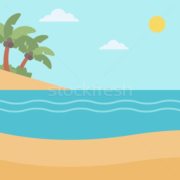 Playa tropical mar palmeras vector diseno ilustración Foto stock © RAStudio
